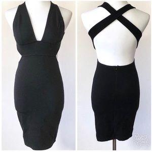 Solemio LA Body Con Midi Criss Cross Back Dress